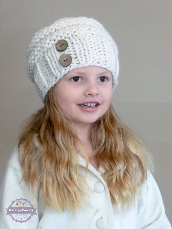 Hand Knit Toddler Slouchy Beehive Hat in Cream With Two Coconut ...
