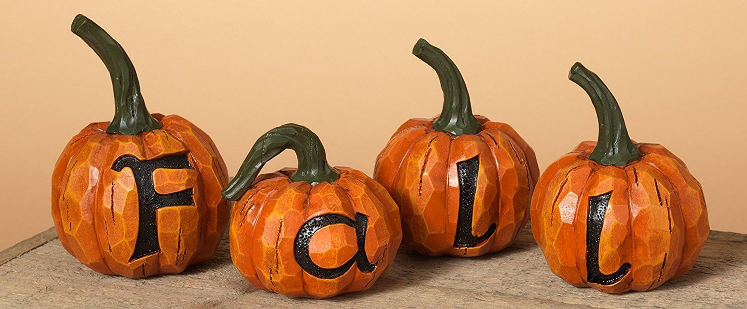Set of 4 Orange and Green FALL Pumpkins Tabletop Halloween - Spooky Halloween Decorations