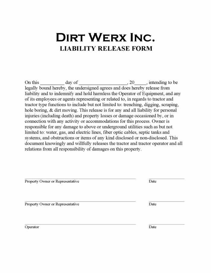 Printable Sample Liability Waiver Form Template Form Laywers