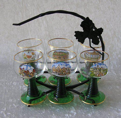 Vintage Souvenir Roemer Rhine German Wine Glasses Rack Vintage Souvenir Wine Glasses German Wine