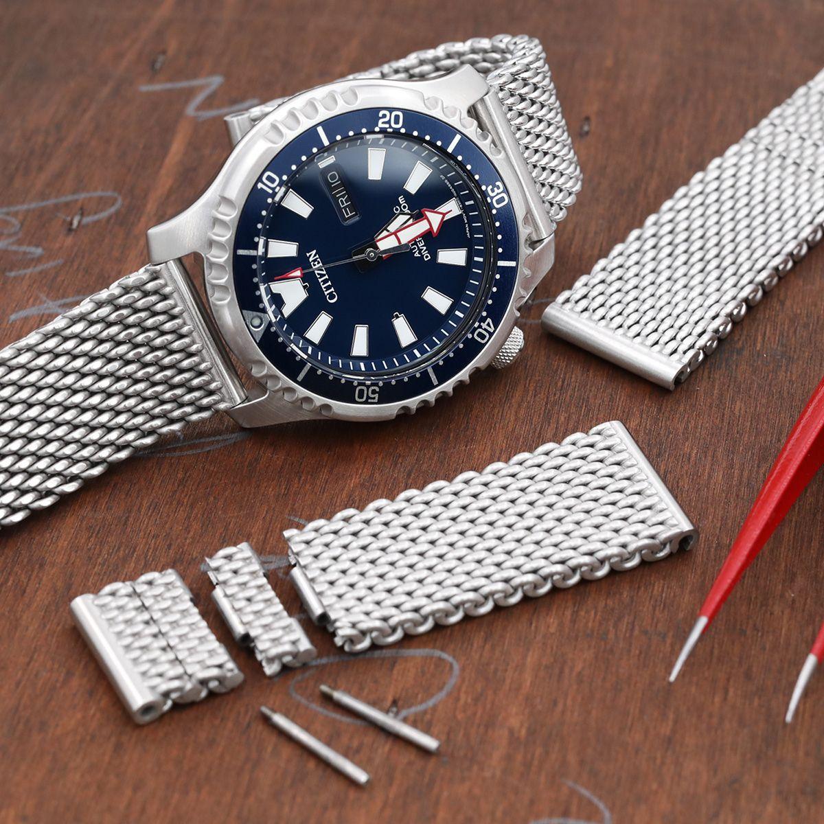 halvin Tarkista uusin muotoilu 20mm, 22mm Solid End Massy Mesh Band Stainless Steel Watch ...