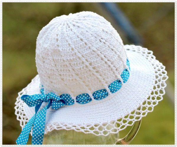 Hut häkeln // Sommer-Hut für Mädchen häkeln | häkeln | Pinterest