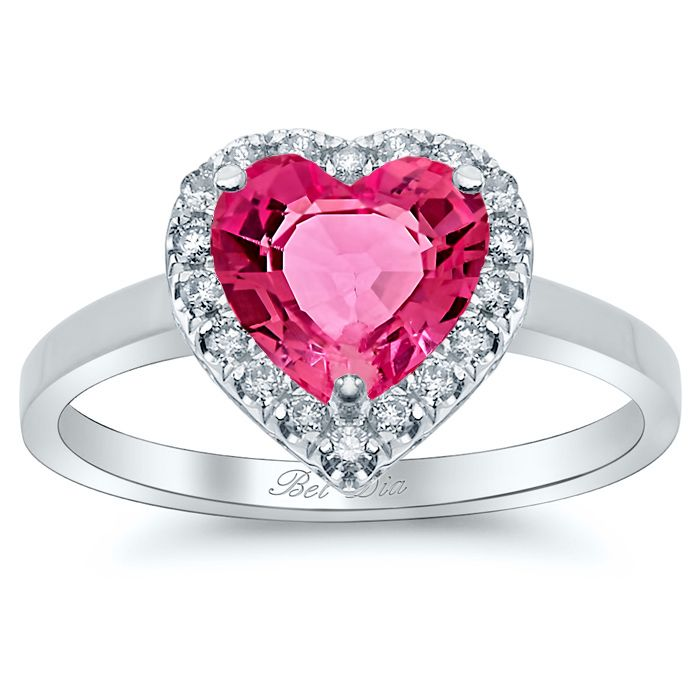 sapphire amp rings heart pink diamond accent ring gemstone created