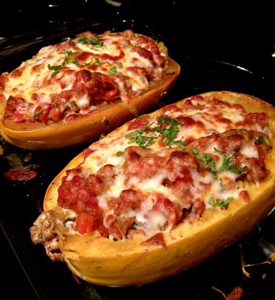 stuffed spaghetti squash: lasagna style  Use this sauce:http://www.food.com/recipe/buca-di-beppo-marinara-sauce-342772