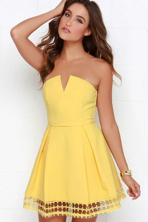 14bc67646a Evening Visions Yellow Strapless Dress at Lulus.com!