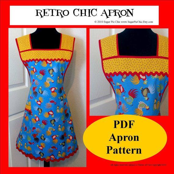 Apron Pattern PDF Women\'s 50s Style Full Apron Tutorial | Schürzen ...