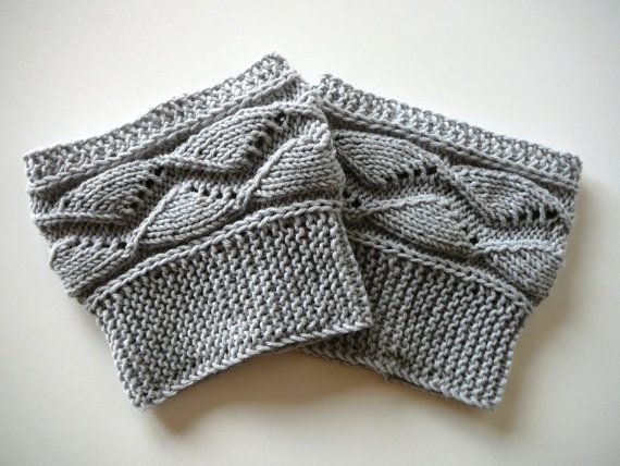 Light grey knit boot socks, boot cuffs, boot toppers, leg warmers ...