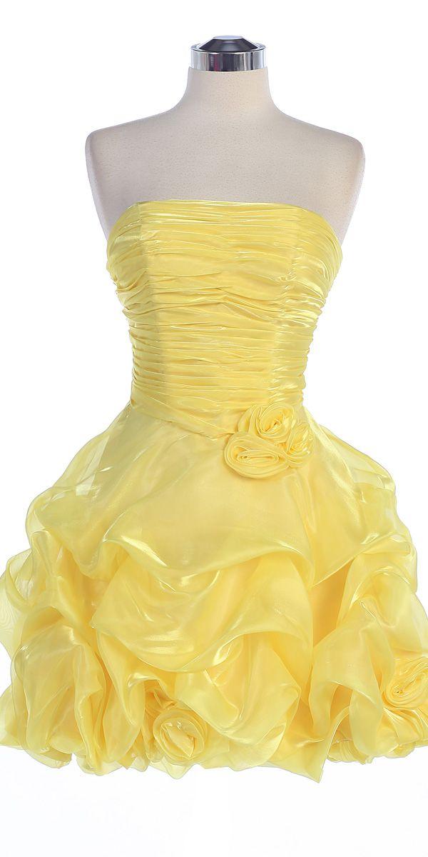 Yellow Organza Strapless Gathered Rosette Detail on Bodice with Pick-up Bubbled Hem Short Skirt Bridesmaid & Prom Dress- S5240 S5240-YL $77.00 on www.GirlsDressLine.Com
