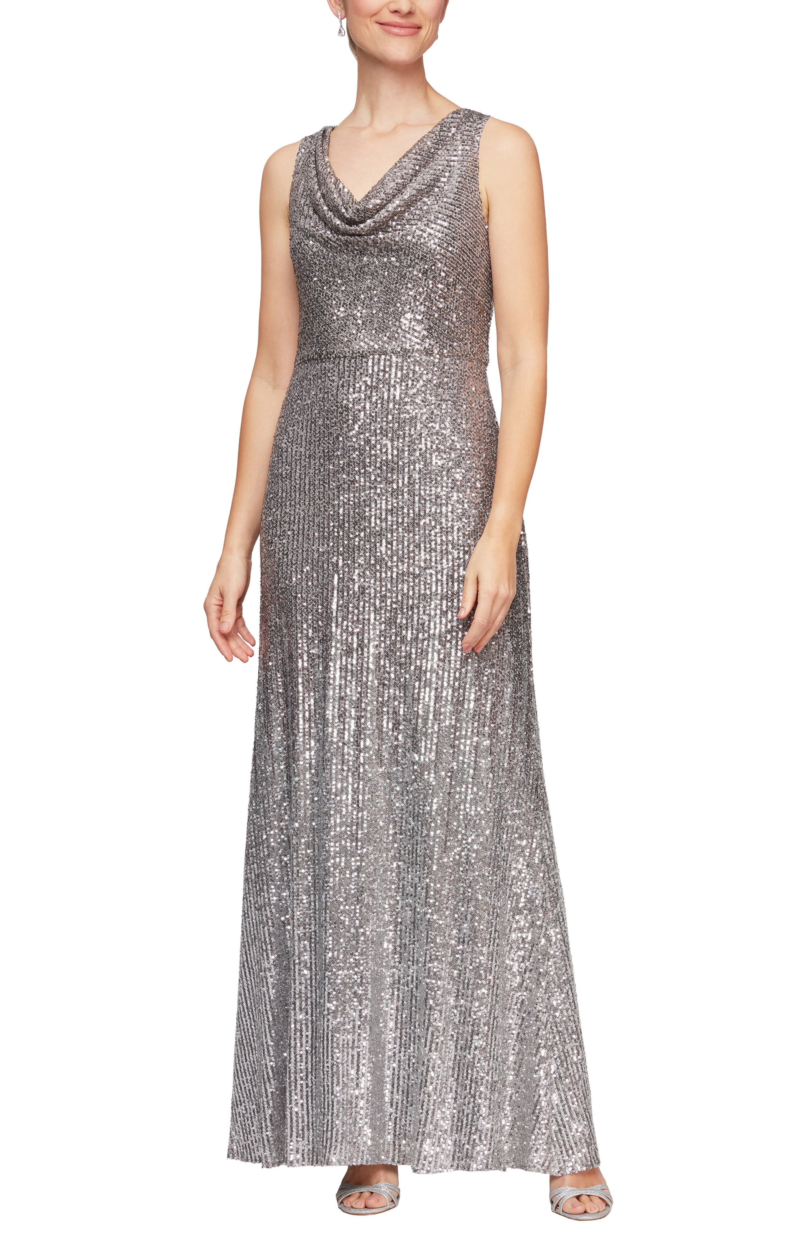 Embody old Hollywood glamour in this sparkling gown featuring a flattering cowl neck guaranteed to bring class and elegance to every occasion. Style Name:Alex Evenings Sequin Cowl Neck A-Line Gown. Style Number: 6157258. Available in stores.