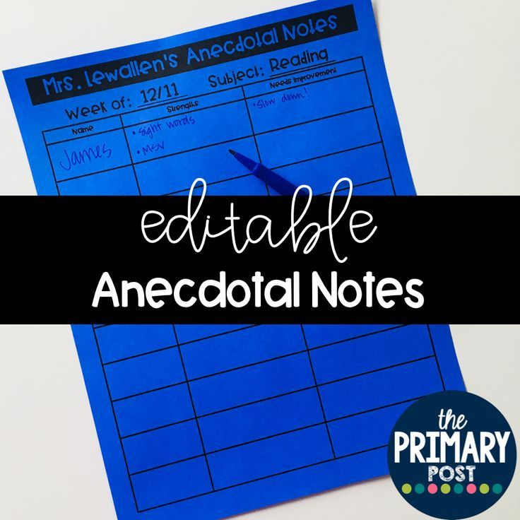 EDITABLE Anecdotal Note Templates | Anecdotal notes, Notes template ...