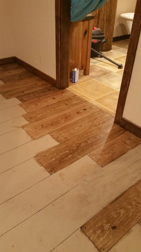 This Is A Concrete Floor Painted To Look Like Wood I M Using A Wood Graining Tool And Gel Stain The Painted Concrete Floors Concrete Floors Stained Concrete