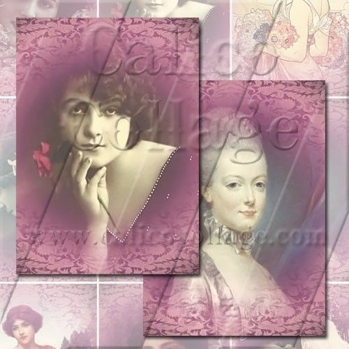 Pink Ladies  Digital Collage Sheet  25x35 Tags by calicocollage, $3.75