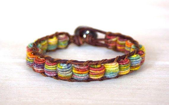 Boho Leather Bracelet, Shabby Chic, Fabric Textile Beads, RAINBOW. $68.00, via Etsy.