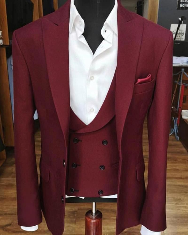 Multi Colors Peak Neck Three Pieces Wedding Suit Men Formal Prom Suits Tuxedo Jacket Vest Pants Menssuits Baju