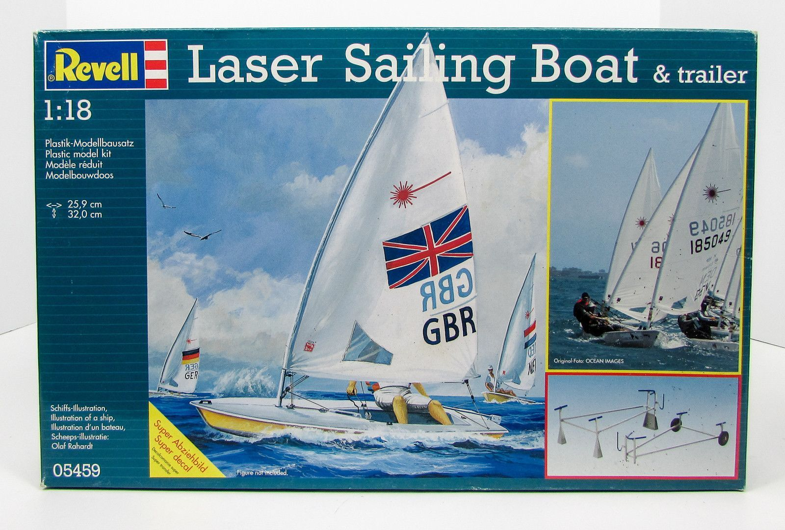 Laser Sailing Boat & Trailer Revell 05459 1/18 Boat Ship Model Kit ...