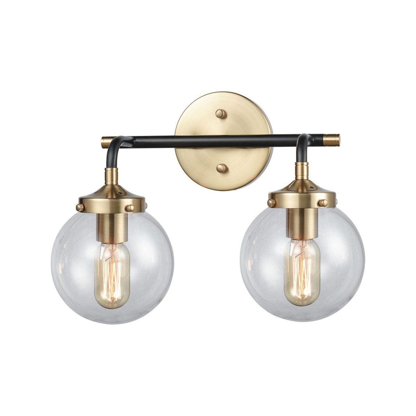 Mixed Metal Globe Vanity Light 2 Light Vanity Lighting Elk Lighting Vanity Lamp