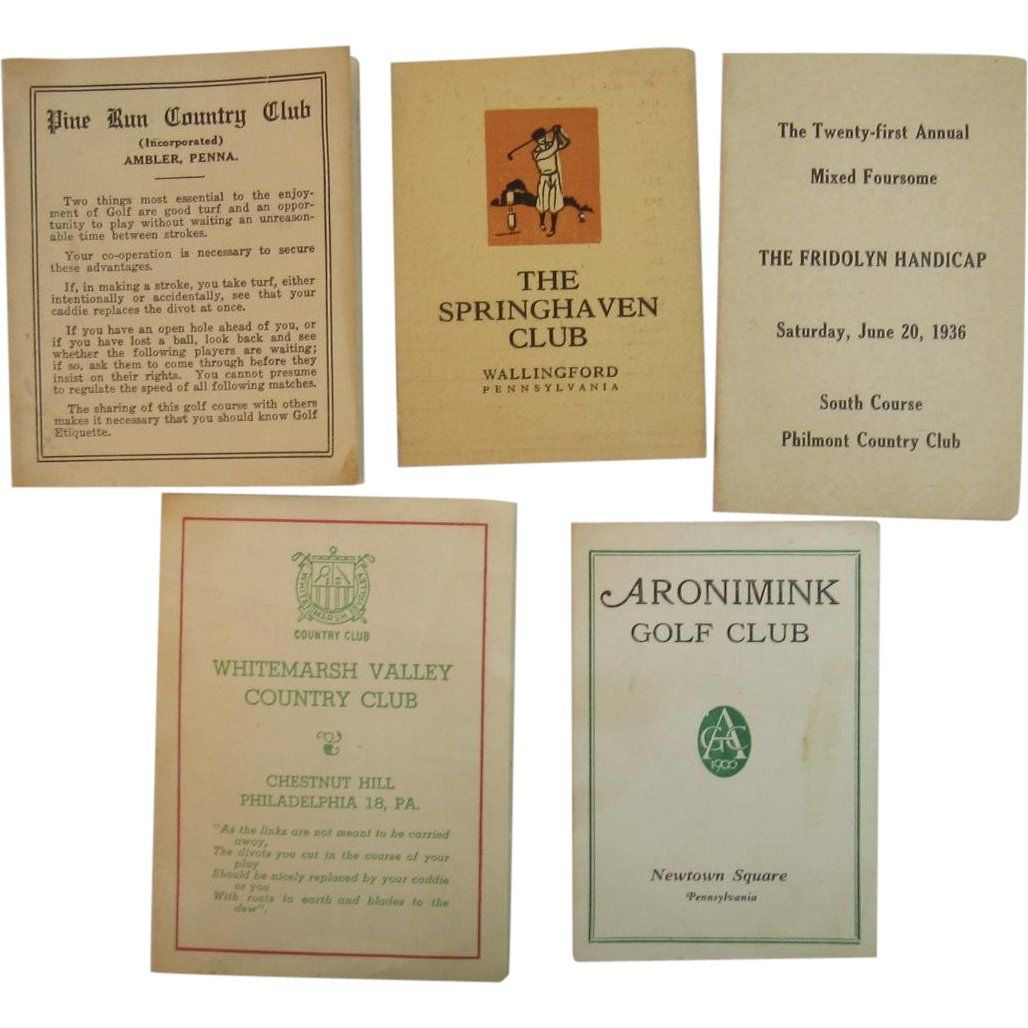 5 Unused Golf Score Cards From Philadelphia Area Courses And