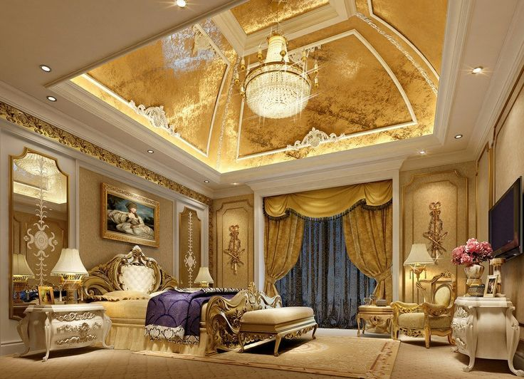 Large Bedroom With Gold Ceiling Modern Luxury Bedroom Luxury