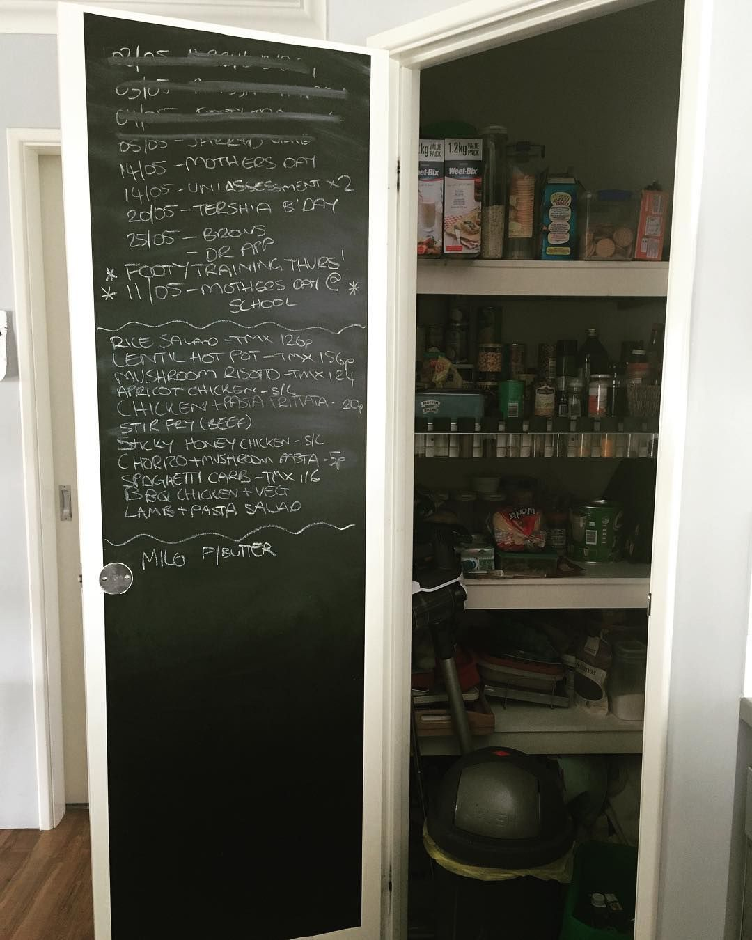 Kitchen Pantry Hacks: Chalk Board Roll From Kmart @organised_chaos_co On Instagram