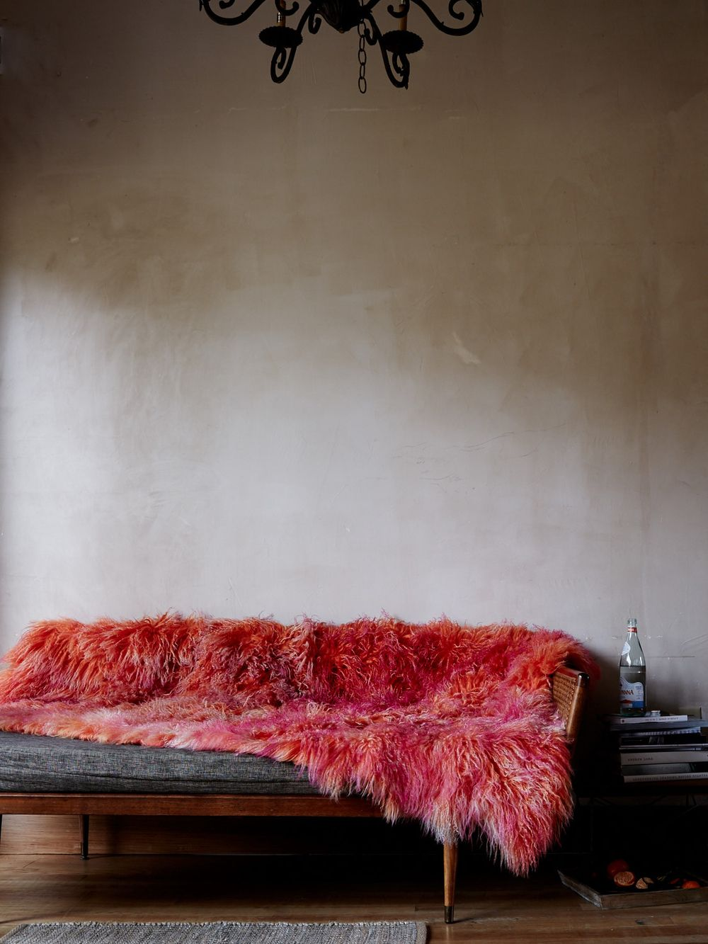 This red fur throw is amazing! Photo Credit: Kate Sears Photography.