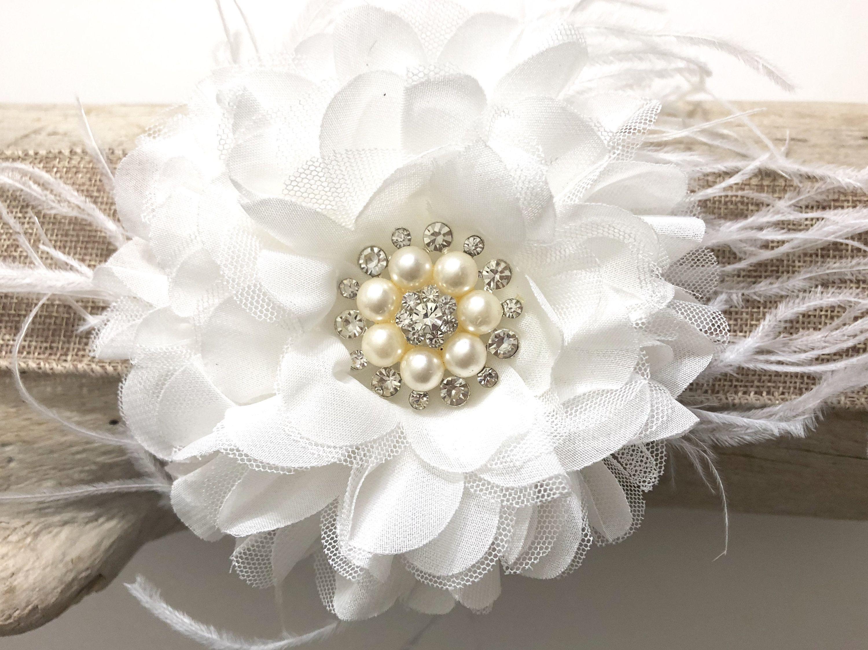 White Flower Feather Hair Clip Bridal Flower Hair Clip Flower Girl