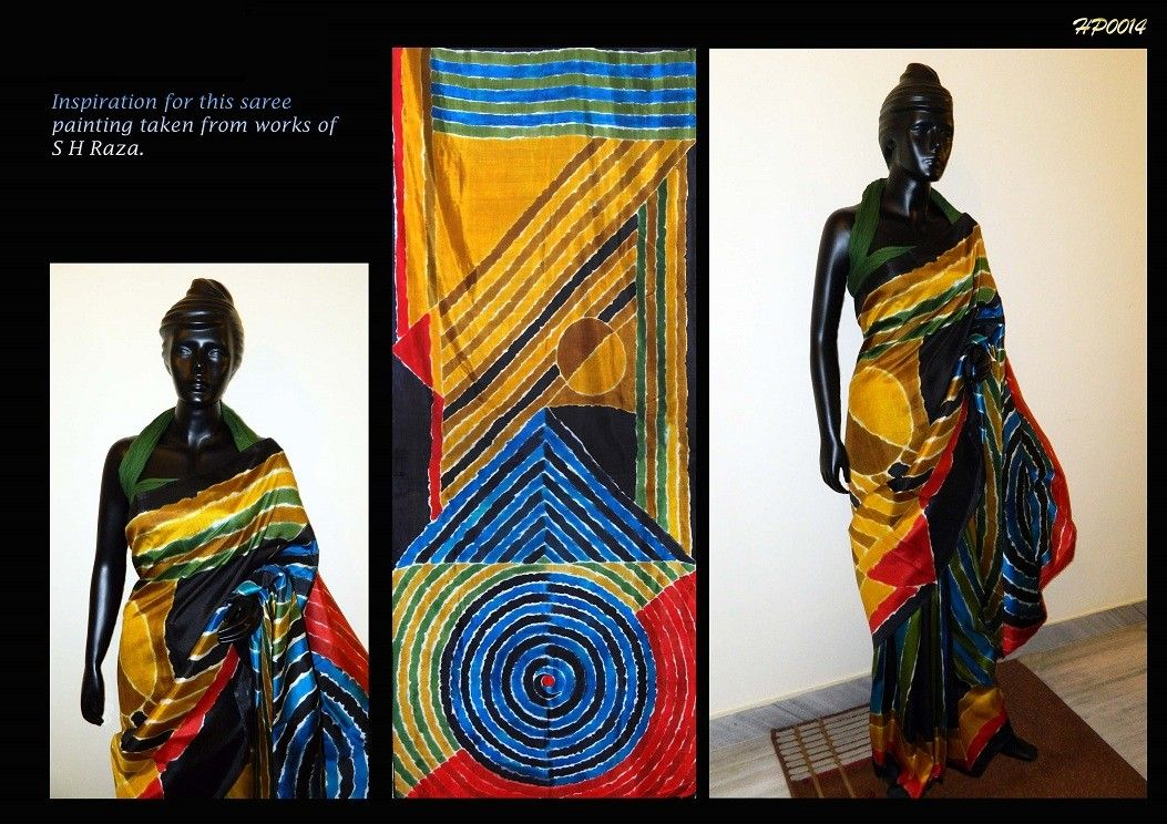 Handpainted Sarees Bishnopur http://www.artncraftemporio.com/handpainted-sarees-bishnopur-1358.html Hand Painted bishunpur Sonamookhi Silk* Saree. Saree with painting inspired from famous work of Willem De Kooning. Handpainted by bishnupur artist