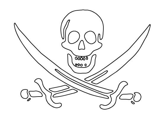 Skull And Crossbones Pirate Flag Outine Pirate Coloring Pages