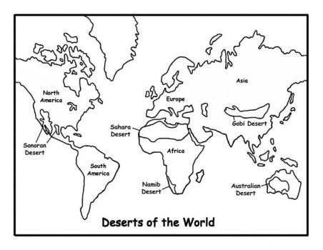 deserts of the world SCHOOL World map coloring page, Deserts of