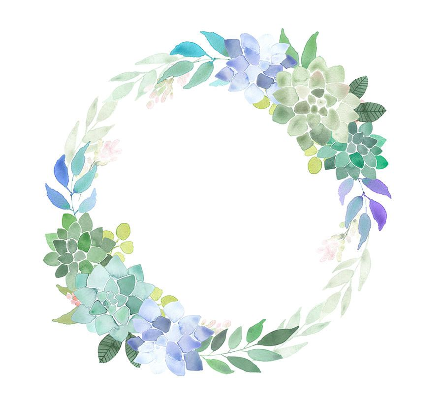Succulents Wreath Watercolor Clipart Succulents Wedding