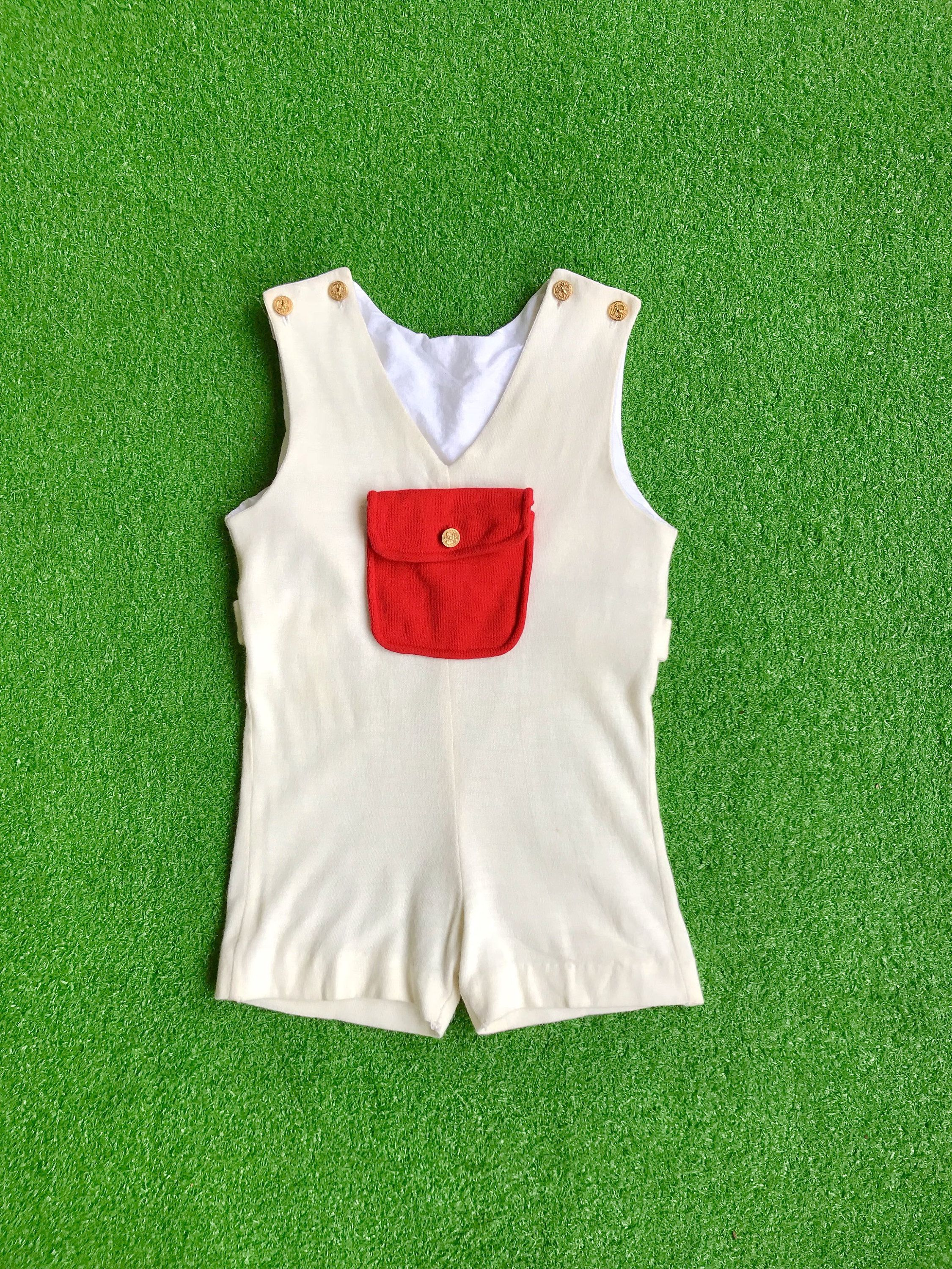 10a4a3f1914d Vintage 1960s mod unisex children s romper retro 60s 70s cream off white red  pocketed toddler playsuit jumpsuit one piece sleeveless shorts