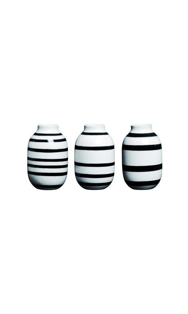 Kahler Omaggio Mini Ceramic Vase 3-Pack - Height 80mm (3.1 In ... on black no, black pl, black gi, black ve, black sl,