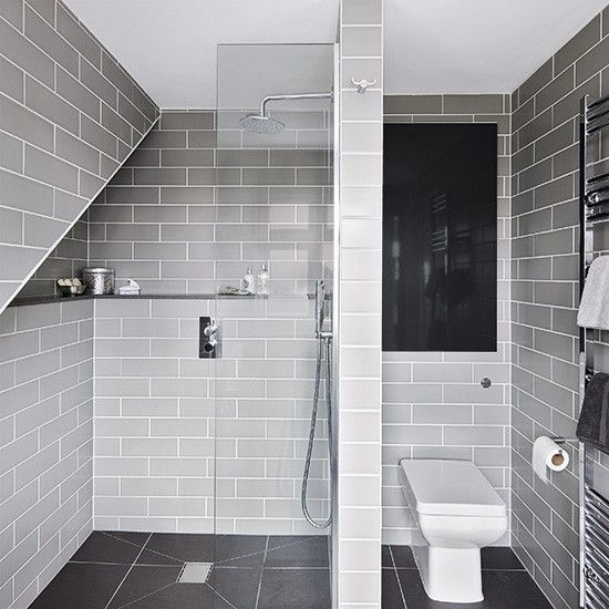 Grey modern wet room with metro tiles   Bathroom decorating   Ideal Home    Housetohome. ARIES Chrome Finish Halogen Bathroom   Ideas for small bathrooms