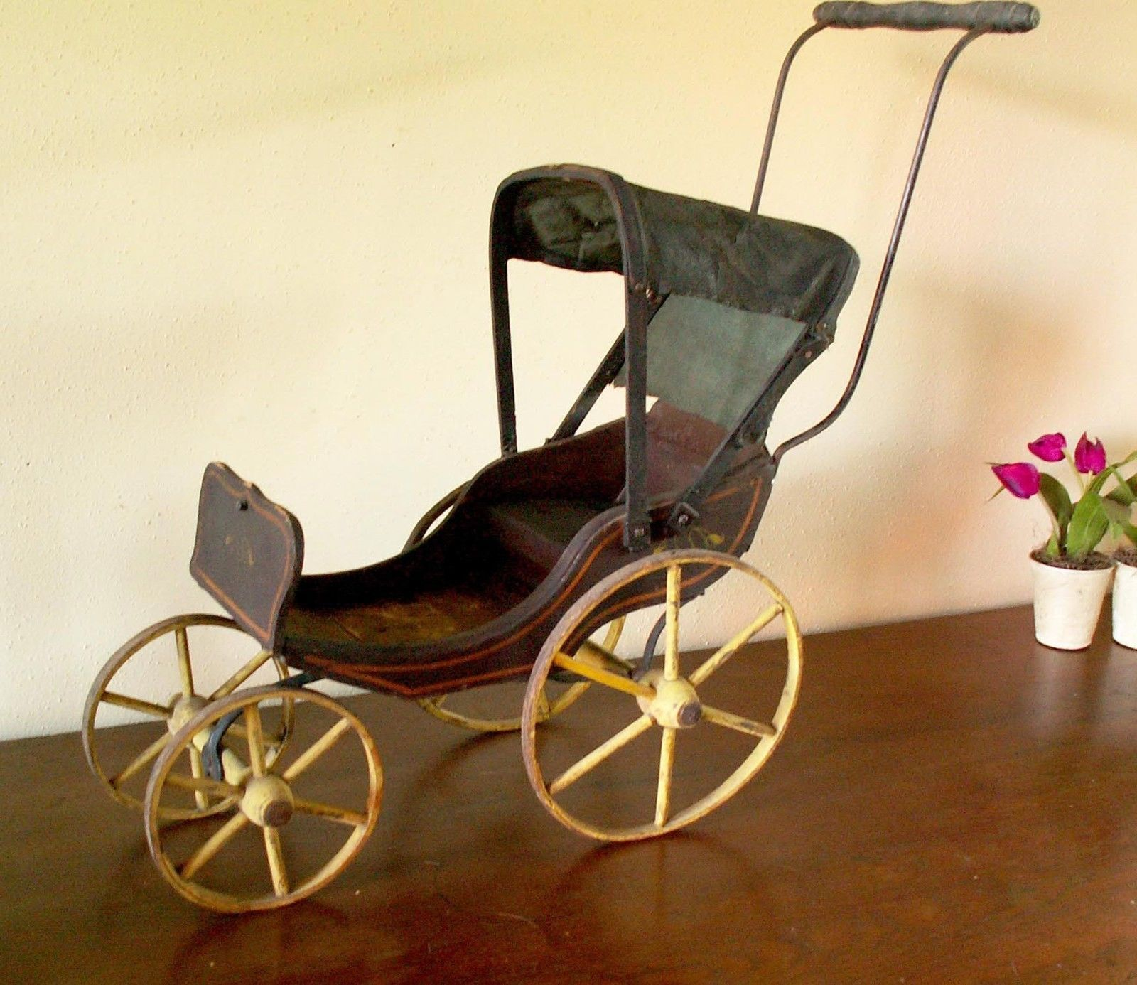 Antique Buggy Baby Doll Toy Carriage Stroller Paint Antiques Baby Carriages & Buggies