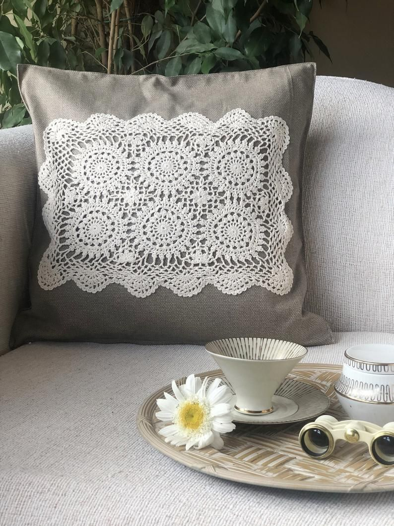 Beige Pillow Cover, Ivory Color Crochet Doily, Boho Vintage Floral Pattern, Chic and Stylish, Porth, Patio and Swing Bed Decorative