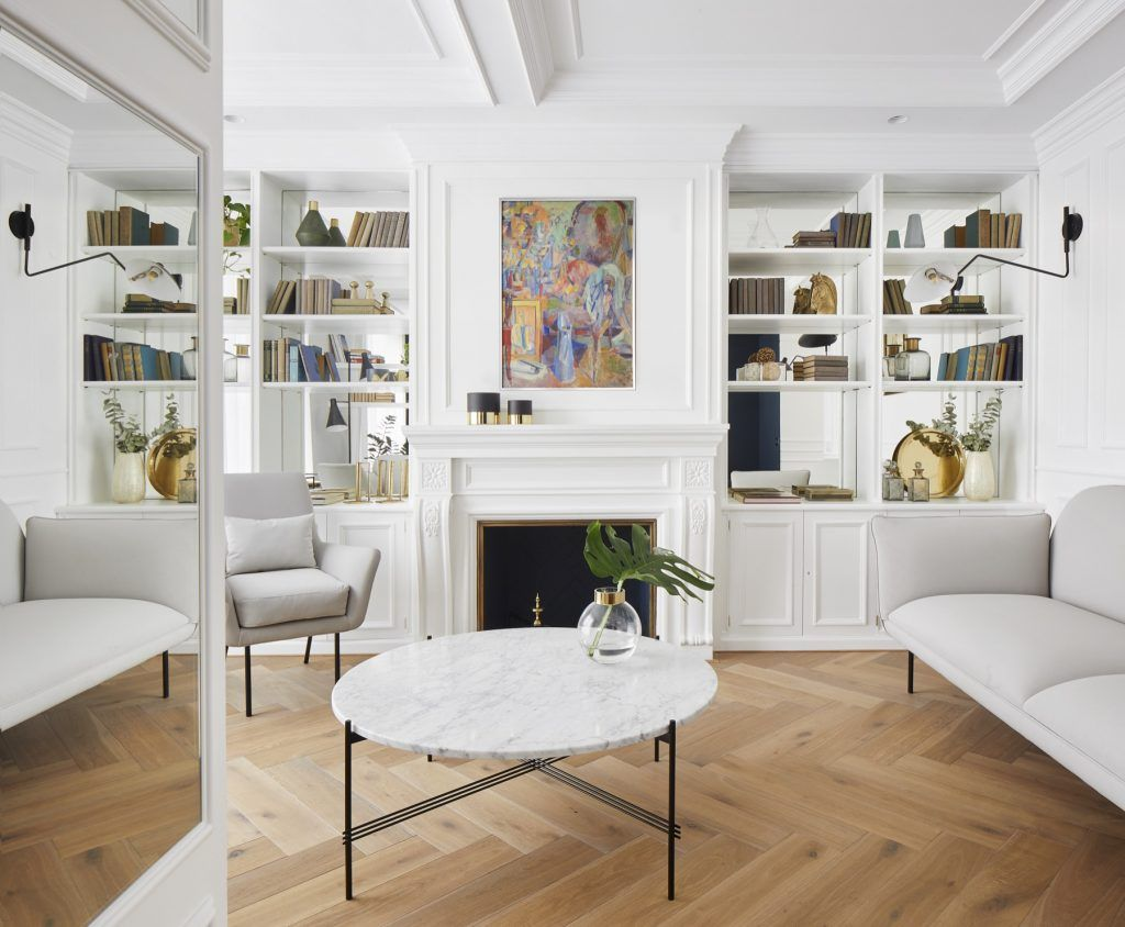 White living room paint color scheme with herringbone floorboards ...