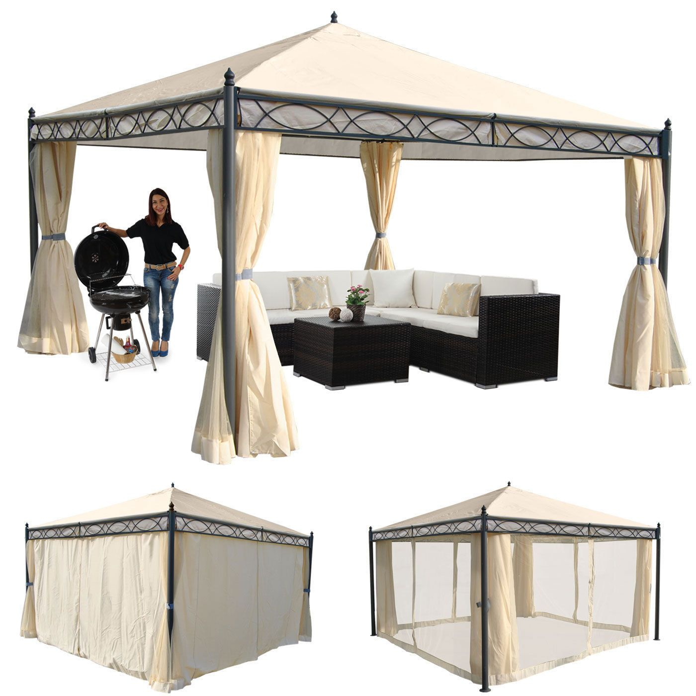 pergola cadiz garten pavillon 7cm gestell mit seitenwand moskitonetz jardiner a. Black Bedroom Furniture Sets. Home Design Ideas