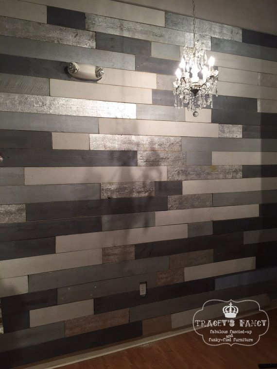 Metallic Wood Plank Wall Accent Wall Feature Wall
