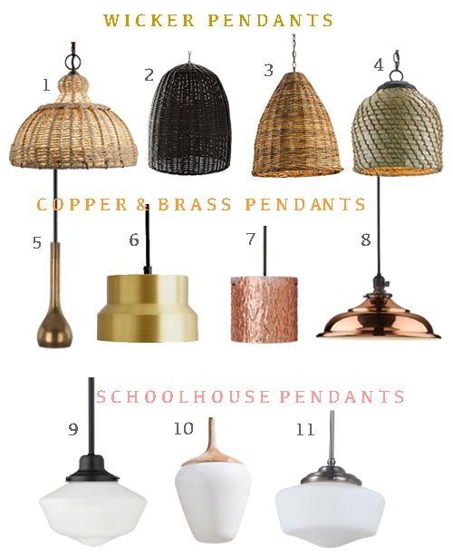 pendant lighting wicker copper brass schoolhouse pendant