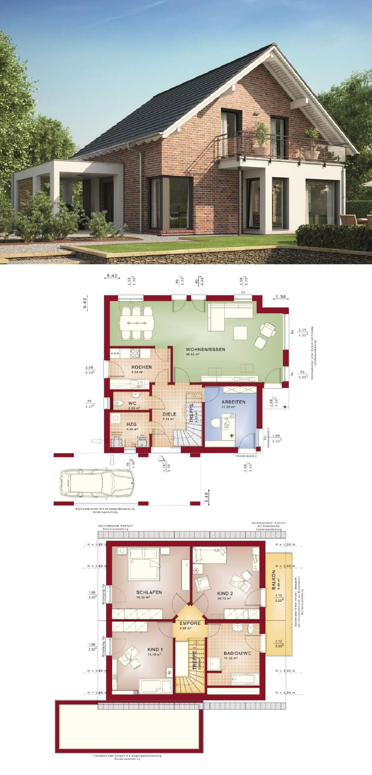 einfamilienhaus mit klinker-fassade satteldach und carport anbau