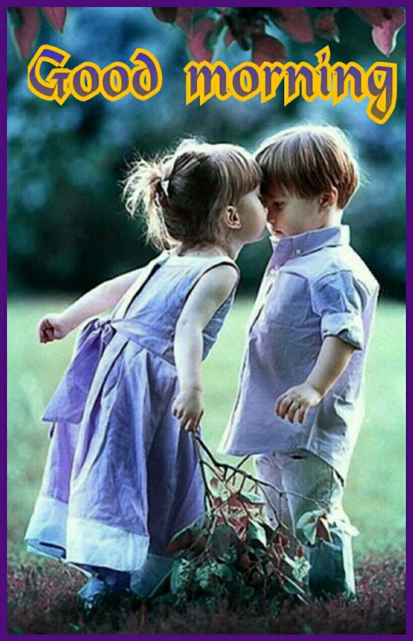 Good Morning Saved By Sriram Cute Couple Wallpaper Kids Kiss Children Photography