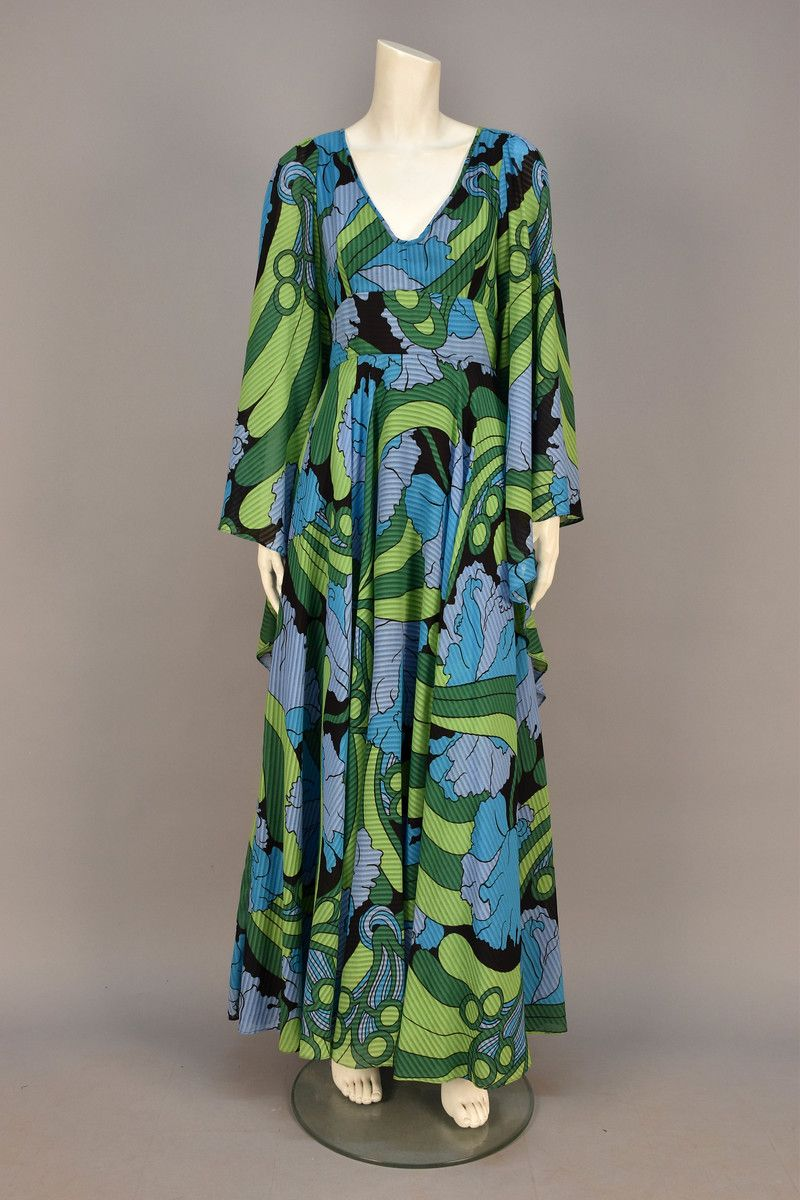 Printed Voile Maxi Dress by Jean Varon, 1970s.