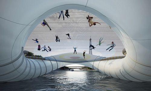 Puente trampolín hinchable en París