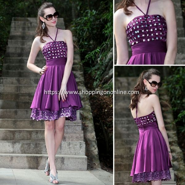 Purple Evening Dress - Halter Neck Beaded $156.80 (was $196) Click here to see more details http://shoppingononline.com/cocktail-dresses/purple-evening-dress-halter-neck-beaded.html #PurpleEveningDress #Halter #PurpleDress #SexyDress #PurpleSexyDress #Backless #CocktailDress #ShortDress