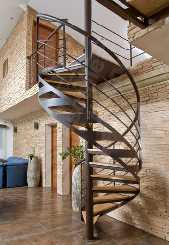 Spiral Staircase Metal Frame Wooden Steps Central Stringer