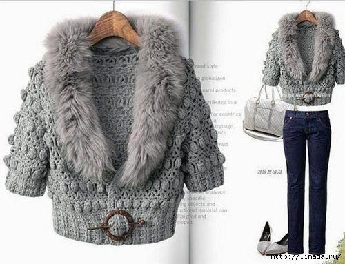 Knitting Patterns For Winter Jackets : Crochet Winter Fashion Jacket - Free Crochet Pattern (Crochet patterns) Cro...