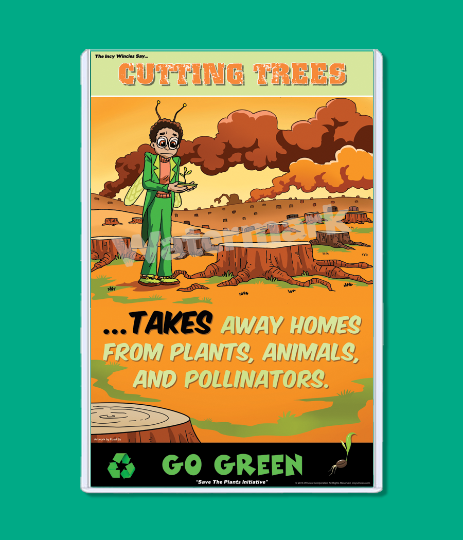 Kids Environmental Posters Cutting Trees Focuses