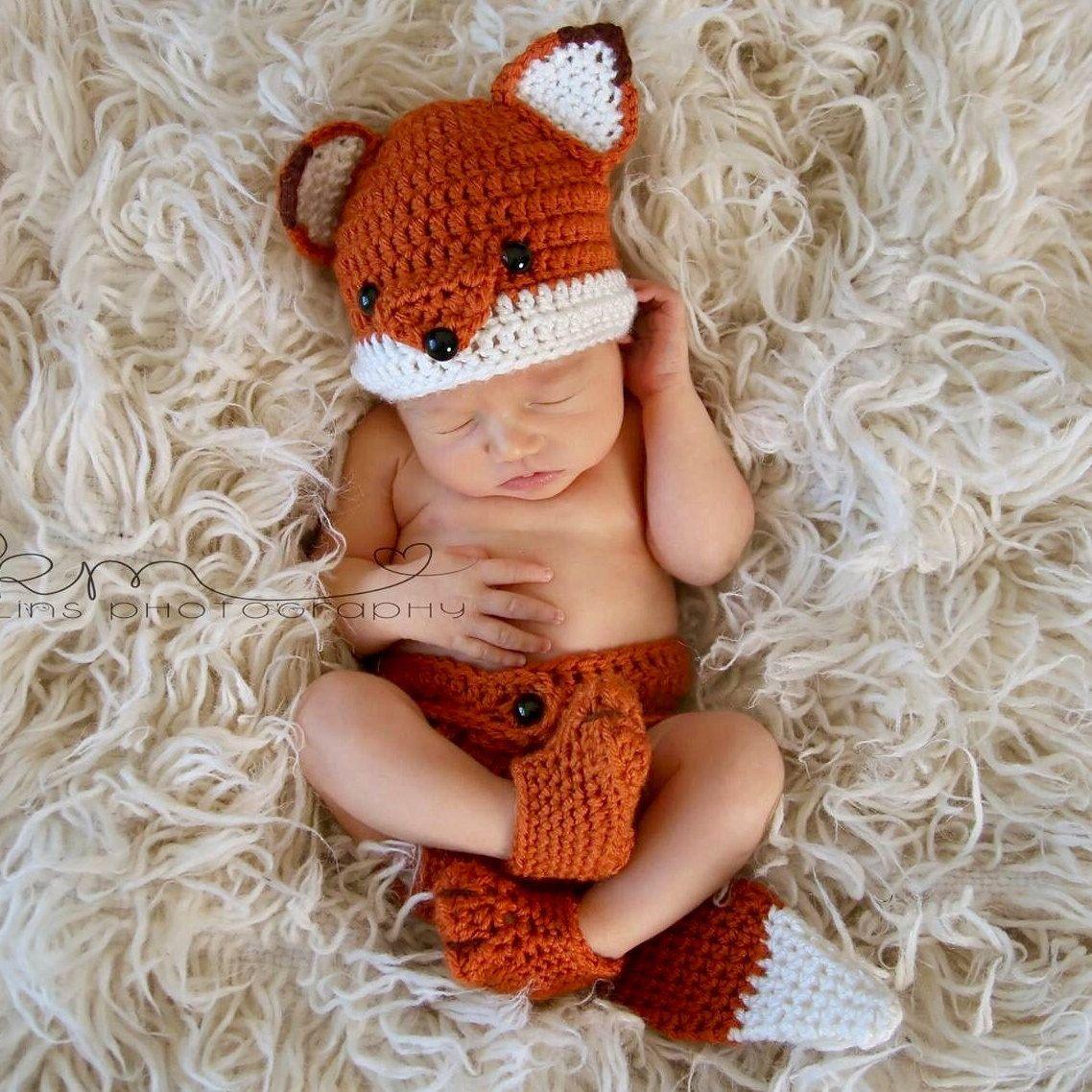 Crochet Newborn Fox Outfit - Baby Girl or Boy Woodland Costume ...