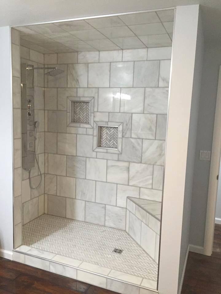 White tile KerdiDrain SchluterKerdiBoard shower niche