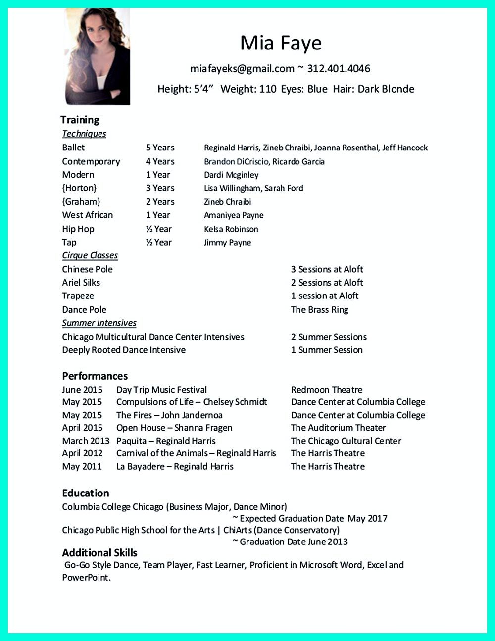 sample resume for dance audition