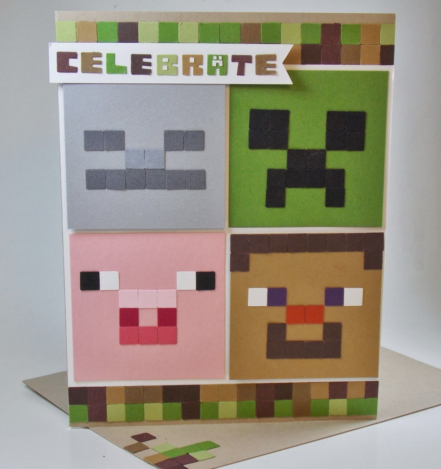 Laura S Works Of Heart Minecraft Birthday Card Stampin Up Manly